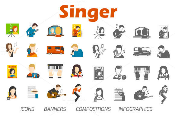 Pop Music Singer Flat Vector Set