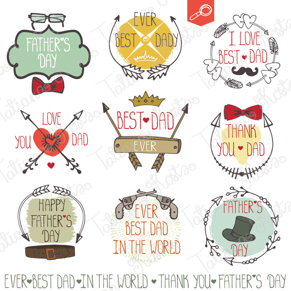 Fathers Day Doodle Vintage Labels