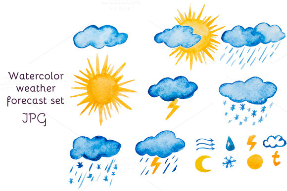 Watercolor Raster Set Of Forecast