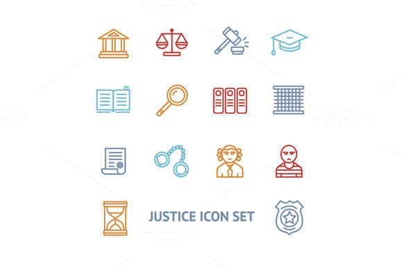Vector Justice Law Outline Icon Set