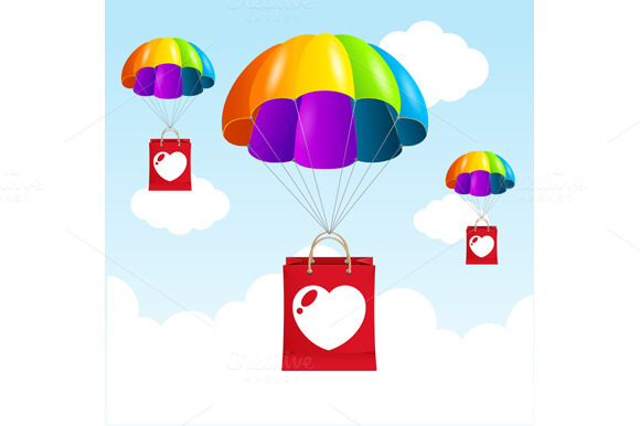 Vector Rainbow Parachute Love