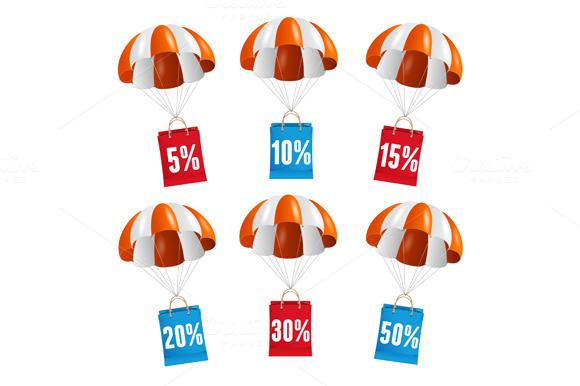Vector Parachute Sale Labels