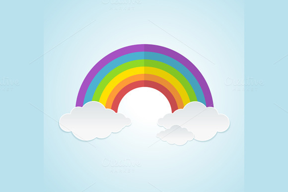 Vector Rainbow And Clouds Set