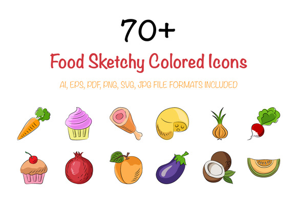 70 Food Sketchy Colored Icons