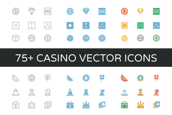 75 Casino Vector Icons