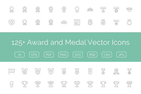 125 Award And Medal Vector Icons
