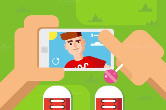 Guy Makes Selfie On Smart Phone