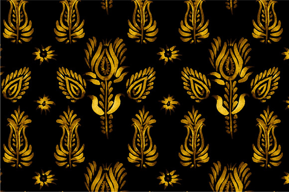3 Seamless Patterns Golden Flowers
