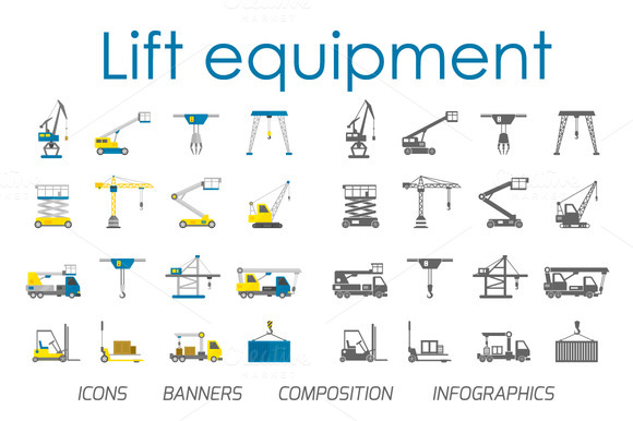 Lift Equipment Flat Vector Set
