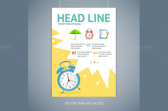 Vector Wakeup Clock Brochure Flyer