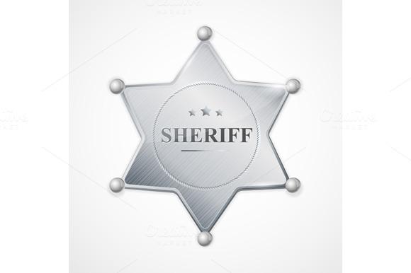 Vector Sheriff Badge Star Set