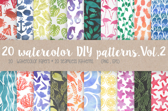 20 Watercolor DIY Patterns.Vol.2