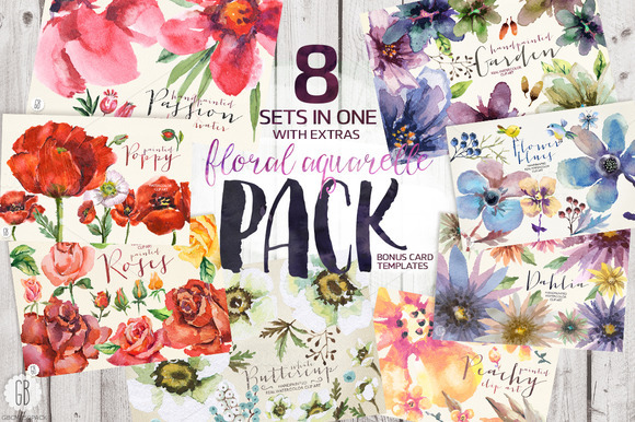 PACK 8 Sets Of Floral Aquarelle