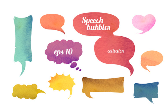 Watercolor Speaking Bubbles