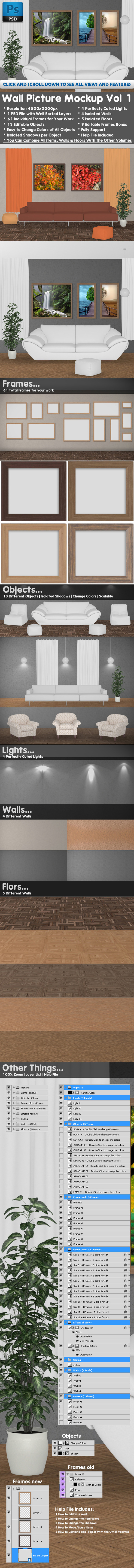 Wall Pictures Kit Mockup Vol 1