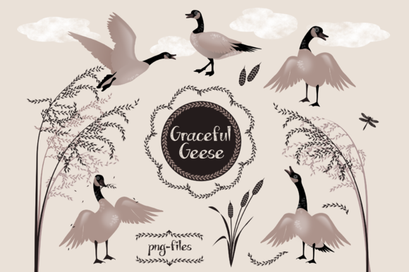 Graceful Geese Animal Clipart
