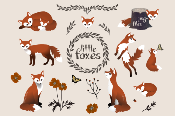 Little Foxes Animal Clipart