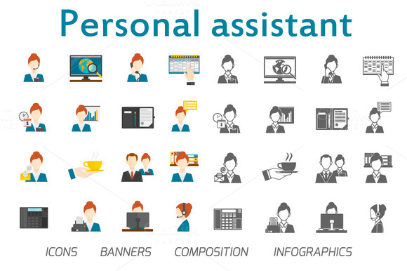 Personal Assistant Flat Vector Set