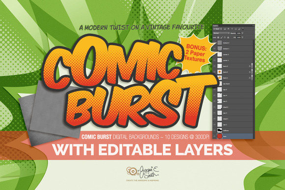Comic Burst Layered PSD Backgrounds