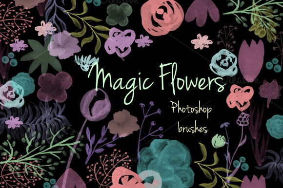 Magic Flowers Photoshop Brush Set