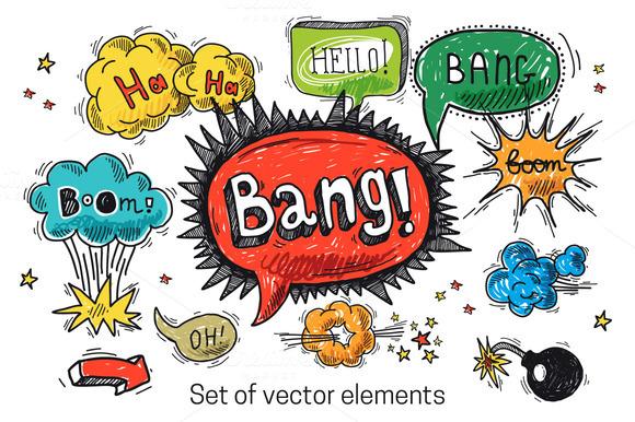 Comic Speech Bubble Doodle Set
