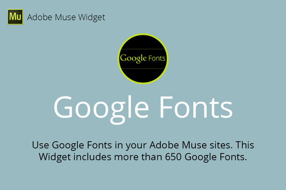 Google Fonts Adobe Muse Widget