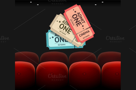 Vector Cinema Concept And Ticket Set