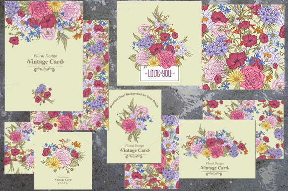 Vintage Bouquet Floral Card Set