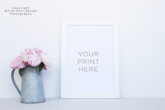 White Frame And Peonies Mockup