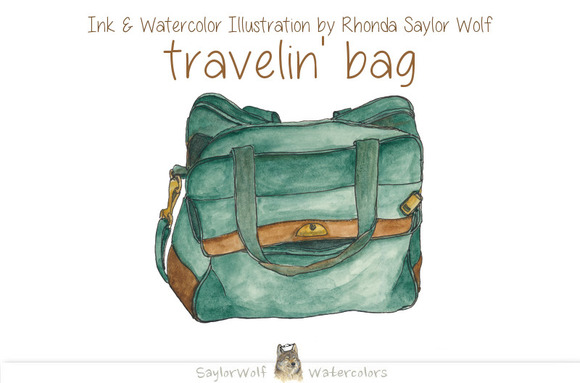 Watercolor Travel Bag Clipart