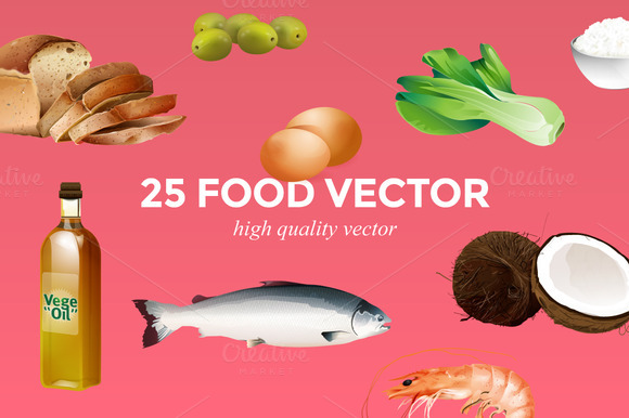 25 High Quality Food Vector