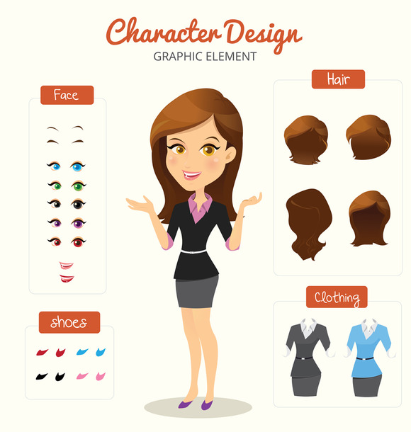 Business Woman Vector Set