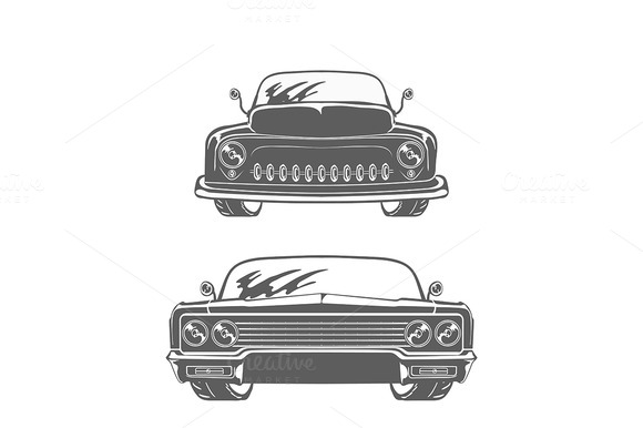Retro Cars Isolated