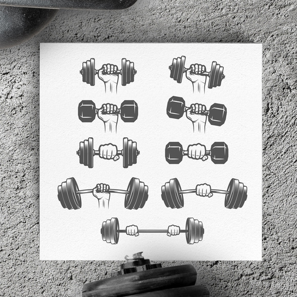 Set Of Hands With Dumbbells