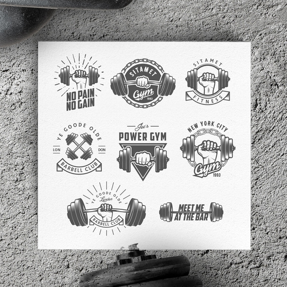 Vintage Gym Logos Design Elements