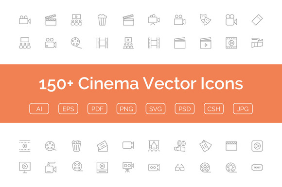 150 Cinema Vector Icons
