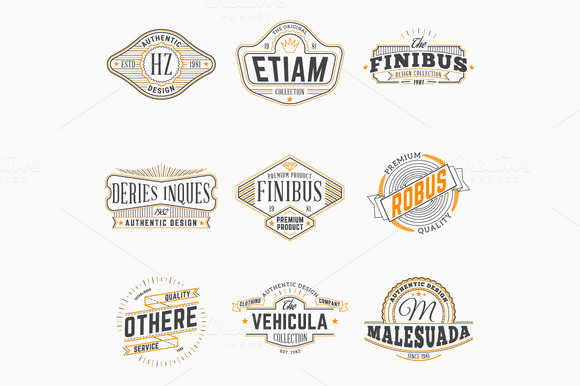 Set Of Vintage Thin Line Badges
