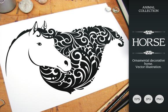 Ornate Calligraphic Horse