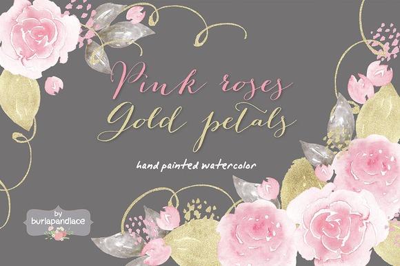 Pink Roses Gold Petals Watercolor