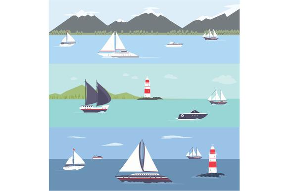 Ship Traveling Island Landscape