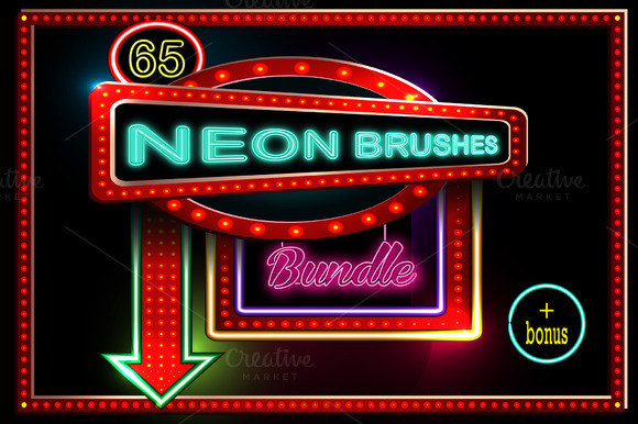 65 Neon Brushes Bundle
