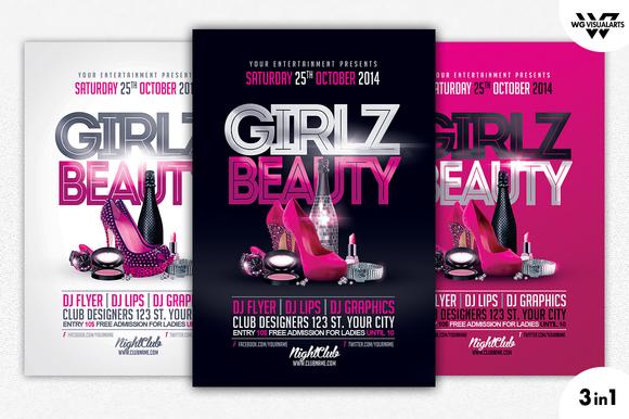 GIRLS BEAUTY Flyer Template