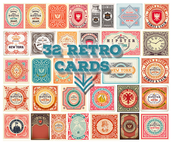 Bundle Of 32 Retro Cards Only 14$