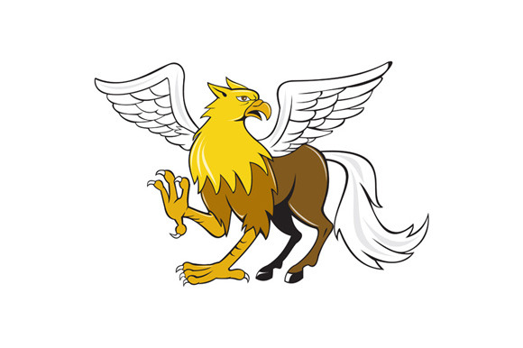 Hippogriff Prancing Isolated Cartoon