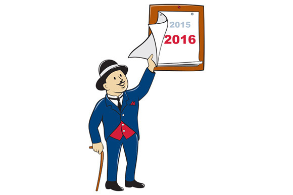 Bowler Hat Man Peeling 2016 Calendar