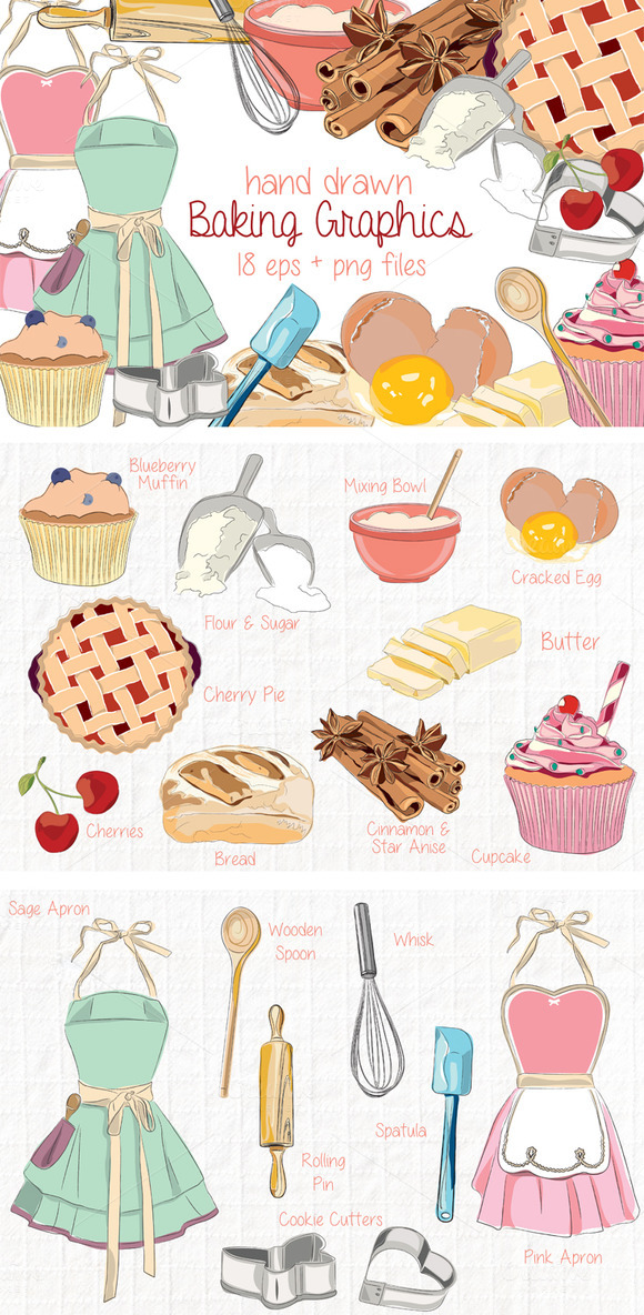 Hand Drawn Clip Art Kitchen Baking