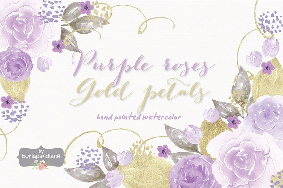 Purple Roses Gold Petals Watercolor