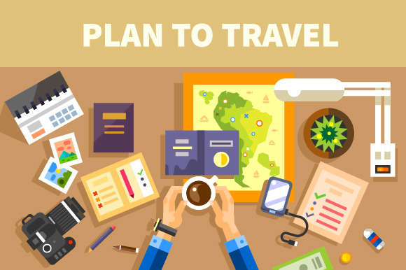 Plans For The Trip Set Of Traveler