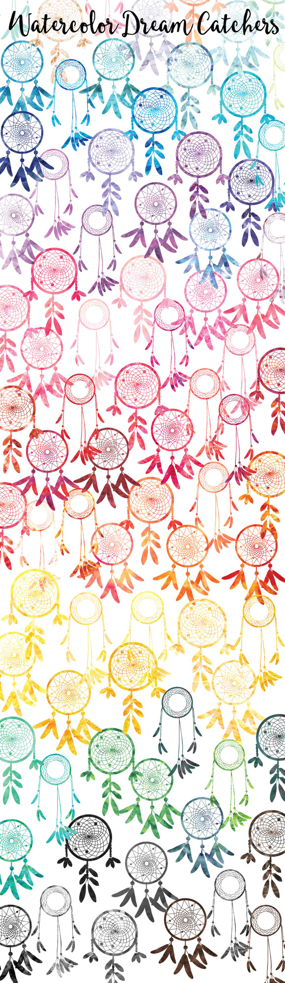 Watercolor Dream Catcher Silhouettes