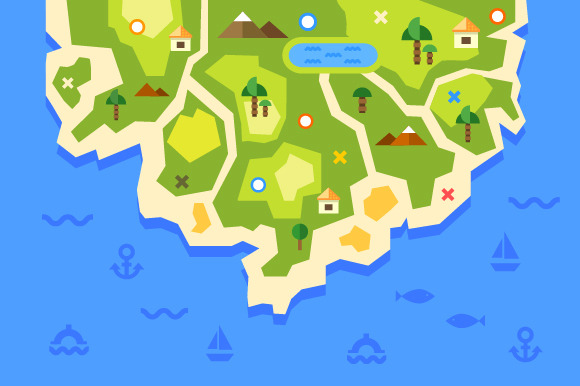 Map Of Island Summer Vacation